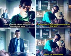 """""""I was wondering if you'd heard from Kristen Kringle lately"""" - Jim and Ed #Gotham"""