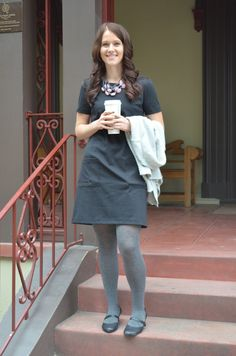 shift dress + tights for fall.