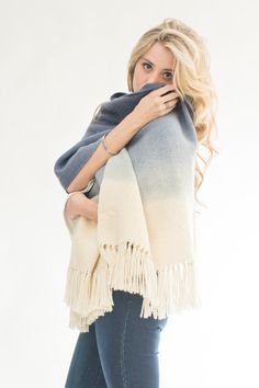Blue handwoven shawl, eco fashion ombré wrap, merino wool dip dye scarf, by Texturable - Ready to ship