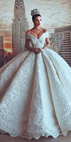 27 Disney Wedding Dresses For Fairy Tale Inspiration ❤ disney wedding dresses cinderella ball gown princess off the shoulder v neckline lace parukeri estetike merita ❤ See more: http://www.weddingforward.com/disney-wedding-dresses/ #weddingforward #wedding #bride #laceweddingdresses