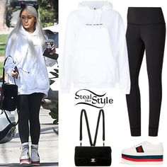 Ariana Grande: 'No Tears Left To Cry' Video Outfits Cute Comfy Outfits, Casual Outfits, Fashion Outfits, Ariana Grande Outfits Casual, Madison Beer Outfits, Hoodie Outfit, Celebrity Outfits, Padded Jacket, White Hoodie
