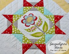 Featuring my FREE Block of the Month! This sweet little quilt features simple piecing, as well as sweet flowers that you can applique or embroider.