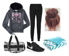 """""""Day 1: Flight to NYC"""" by kadiem ❤ liked on Polyvore featuring Aéropostale, T By Alexander Wang, NIKE, Intelligent Design and Californiagoldencontest01"""
