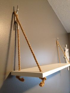 Nautical theme hanging shelf with rope by NauticalNurseryDecor