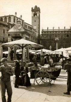 Torre del Gardello and Palazzo Maffei rise above Piazza Delle Erbe - Verona 1915    #TuscanyAgriturismoGiratola