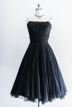 1950s Black Silk Swing Dress
