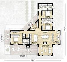 Lujoso plano de casa de campo con 3 habitaciones (202,5m2)