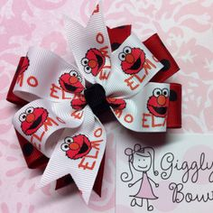 Elmo from Sesame Street Hair Bow available now at Giggly Girl Bowtique!