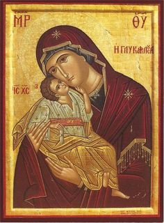 "Orthodox icon of the Most Holy Theotokos, Panagia, Virgin Mary, the Mother of God ""Tenderness"", ""Glykofilousa"" Byzantine Icons, Byzantine Art, Religious Icons, Religious Art, Orthodox Catholic, I Love My Mother, Greek Icons, Icon 5, Orthodox Icons"