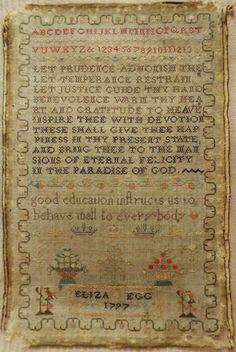 18TH CENTURY LINEN & SILK WORK SAMPLER BY ELIZA EGG 1797