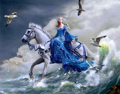 Euphoria by Nene Thomas. Female, blue, white, horses, birds, waves, ocean. Princess.