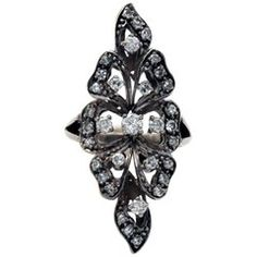 Blackened White Gold and Diamond Long Ring
