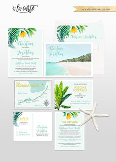 Florida Keys, Key Largo Destination Wedding Invitation watercolour illustrations