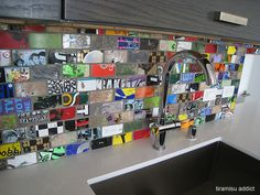 Recycled Skateboard tiles in a kitchen. From tiramisu_addict on flickr
