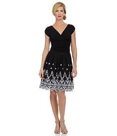 S.L. Fashions V-Neck Pleated Dress