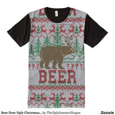 4a46bc7ea9df Beer Deer Ugly Christmas Sweater Style All-Over-Print T-Shirt