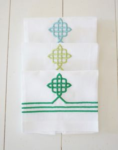 Celtic Knot Embroidered Linen Towels, wedding and bridal shower gift, kitchen and bath linens, kitchen towels - FIND MORE HOME & BRIDAL LINENS BY CLICKING THE PHOTO ABOVE!