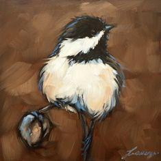 "Chickadee art, impressionistic, 4x4"" original oil painting of a Chickadee, Bird Paintings, by LaveryART on Etsy"