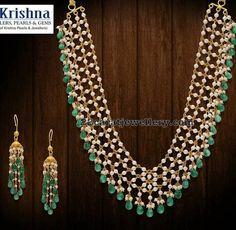 Pearls and Beads Set Krishna Jewels - Jewellery Designs Gold Earrings Designs, Gold Jewellery Design, Bead Jewellery, Beaded Jewelry, Gold Jewelry, Pearl Jewelry, Jewelry Sets, Gold Designs, Latest Jewellery