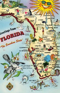 Florida Map - this was a postcard in the mid '70s