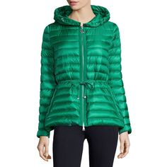 Moncler Raie Hooded Puffer Jacket (3.380.120 COP) ❤ liked on Polyvore featuring outerwear, jackets, beige, quilted nylon jacket, puffy jacket, quilted puffer jacket, hooded nylon jacket and moncler jacket