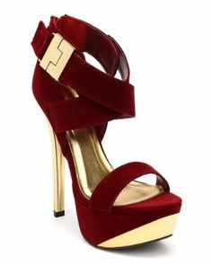 Qupid Count-27 New Velvet Criss Cross Open Toe Heel - Garnet (Size: 10)