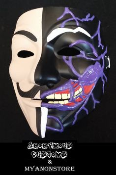 Anonymous custom hand-painted, two-sided mask, now at My Anon Store. Each mask is made to order & is painstakingly hand-painted in the US. All work is performed by an Anonymous art crew, in association with Anonymous Maske, Bear Meme, Guy Fawkes Mask, Mask Painting, Bmx Racing, Two Faces, The 5th Of November, Old Things, Hand Painted