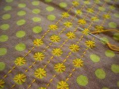 Resultado de imagem para Japanese sashiko embroidery sunflower pattern