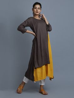 Brown Mustard Rayon Cotton Asymmetric Kurta