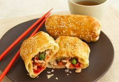 These delicious, puff pastry egg rolls are baked, not fried - plus they're filled with a tempting chicken and vegetable combination that's perfectly seasoned with a touch of prepared sesame-ginger salad dressing.
