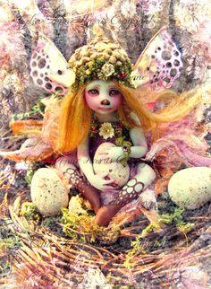 "Bird Egg Nest Watcher Fairy, An Archival art print 8"" by 11""  by Celia Anne Harris"