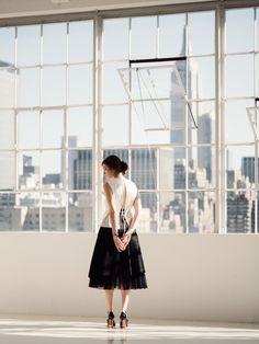 Cream Silk Top -Chadwick Bell   Skirt by -Marc Jacobs   Mary Jane Hells -Manolo Blahnik   IWC Portofino Midsize Ardoise & Diamond Timepiece