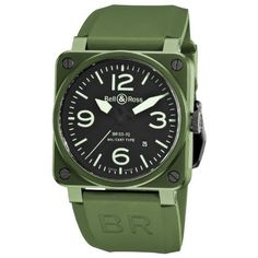 Bell & Ross Men's BR-03-92-MILITARY CERAMIC Aviation Black Dial and Green Strap Watch Watch Bell & Ross. $3395.00. •Automatic Movement•Green Ceramic Case•Black and green dial•Green Rubber Strap•Water-resistant to 100 M (330 feet). Save 25% Off!