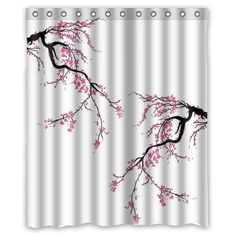 Cherry Blossom Waterproof Fabric Polyester Bathroom Shower Curtain with 12 Hooks x Shower Curtain Sets, Bathroom Shower Curtains, Zen Bathroom Decor, Waterproof Fabric, Cherry Blossom, Hooks, Cherry Blossoms, Wall Hooks, Crocheting