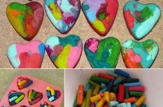 corazones con ceras recicladas