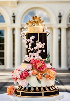 For the Love of Cake! by Garry & Ana Parzych: A Wedding Cake Inspired by Fashion Summer Wedding Cakes, Black Wedding Cakes, Wedding Cake Photos, Wedding Cakes With Flowers, Beautiful Wedding Cakes, Gorgeous Cakes, Wedding Cake Designs, Pretty Cakes, Cake Wedding