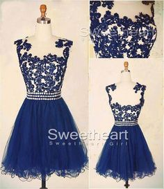 A-line Navy Blue Lace Short Prom Dress, Homecoming Dress