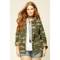 Forever21 Plus Size Camo Print Jacket ($30) ❤ liked on Polyvore featuring plus size women's fashion, plus size clothing, plus size outerwear, plus size jackets, jackets, cotton jacket, long cotton jacket, camoflage jacket, long camo jacket and camouflage print jacket