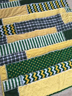 Baylor chevron, stripes and dot rag strip quilt
