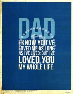 Father's Day Quotes and Fathers Day Gifts. Love your Fathers. Love is a blessing :)