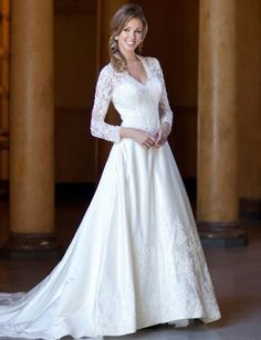 WEDDING DRESS, Kate Middleton look alike!!! :) neck line is too low though..