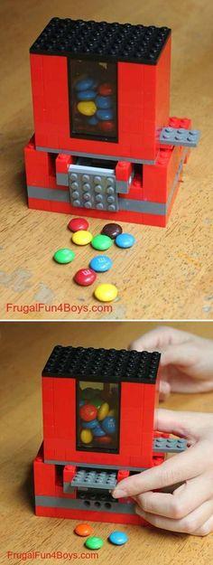 Fun and Easy DIY Lego Crafts for Boys | Lego Candy Dispenser by DIY Ready at http://diyready.com/21-awesome-diy-lego-ideas/