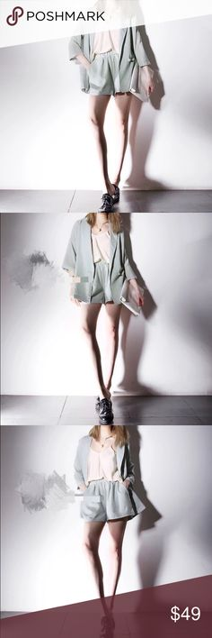 Mint set shorts and light jacket Super pretty for fall. Material: light linen. Measurement see the last pic Other