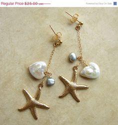 CIJ SALE Beach Wedding Earrings. Starfish and by smallbluethings