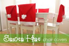 Santa Hat Chair Covers tutorial from Make It-Love It #christmas #diy #craft