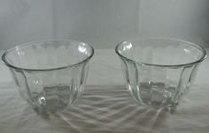 Vintage Pair of Matching Clear Glass Decorative Planters Vase Nappy Candy Dish #Unknown