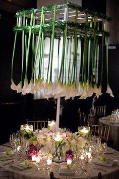 Lámpara decorada con flores para un centro de mesa muy original