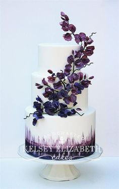 Wedding Cakes 48 Eye-Catching Wedding Cake Ideas - Kelsey Elizabeth Cakes - We pulled together some snapshots of our favorite wedding cakes from the Delicately Delicious bakery to inspire you. Find your favorites below and Pin away! Dark Purple Wedding, Purple Wedding Cakes, Cool Wedding Cakes, Beautiful Wedding Cakes, Gorgeous Cakes, Wedding Cake Designs, Pretty Cakes, Floral Wedding, Lace Wedding