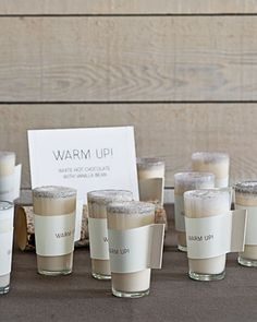 A hot chocolate bar to warm up your guests during a chilly reception.
