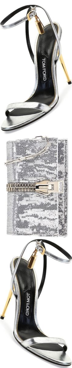 TOM FORD Metallic Ankle-Lock Sandal, Silver and Sequin Large-Zip Detail Clutch Bag, Silver